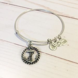 Alex and Ani Silver Anchor Charm Bangle